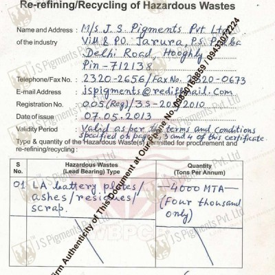 JSPPL Lead Waste Passbook Registration Certificate