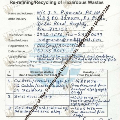 JSPPL Copper Recycle Passbook Registration Certificate